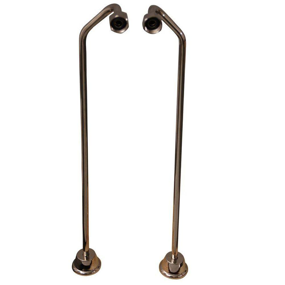 Barclay Products 1/2 in. x 0.8 ft. Brass Offset Bath Supplies in Polished Nickel Barclay provides all your bathroom essentials. These double offset bath supplies for your claw foot tub are available in designer finishes. Stops can be purchased separately. Color: Polished Nickel.