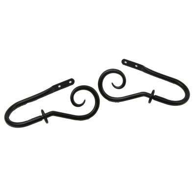 Curl Decorative Holdback Pair in Black