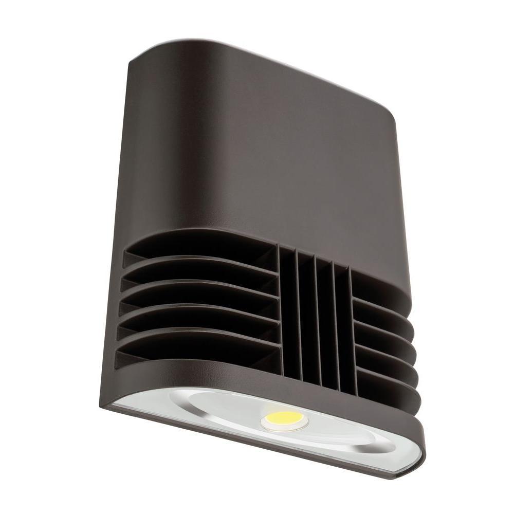 Dark Bronze 20-Watt 4000K Cool White Outdoor Low-Profile LED Wall Pack Light