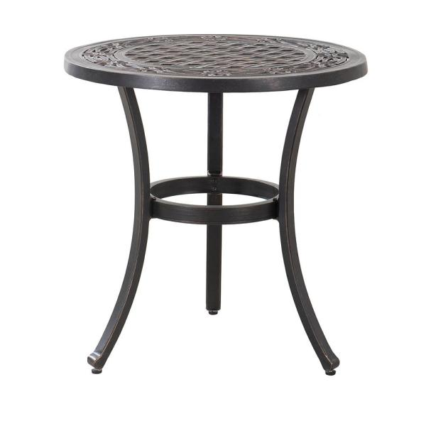 Cahill 28 in. Black Round Aluminum Outdoor Bistro Table