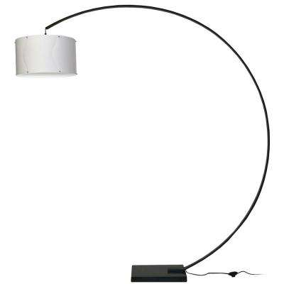 79 in. Black Floor Lamp with White Fabric Shade