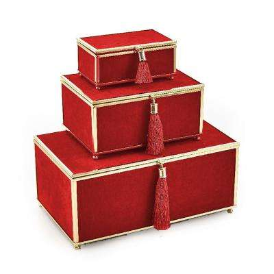 Red Velveteen Boxes with Tassel (Set of 3)