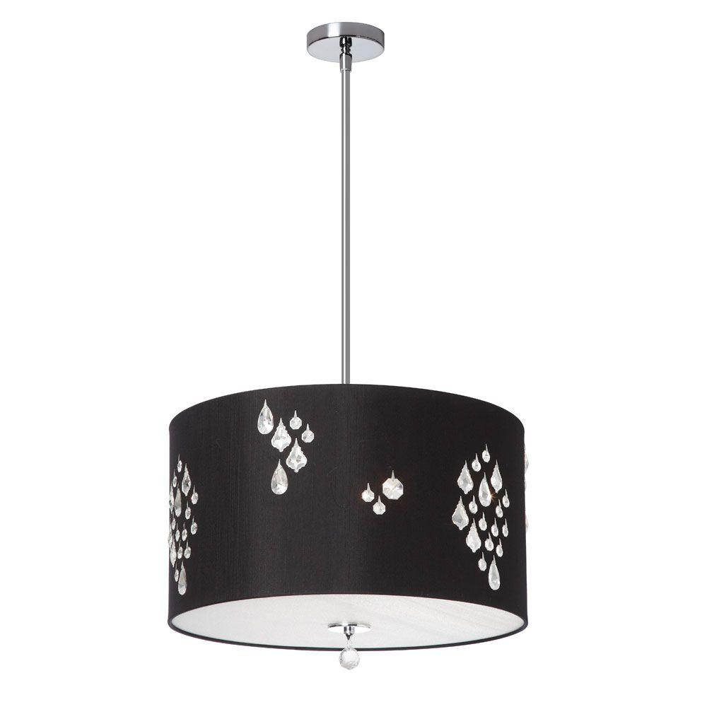 Rhiannon 3-Light White/Silver Back Pendant with Black Baroness Drum Shade and