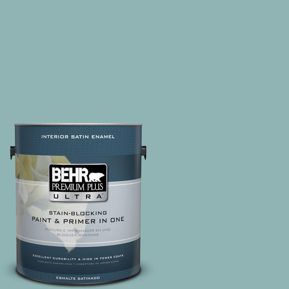 1-gal. #BIC-24 Artful Aqua Satin Enamel Interior Paint