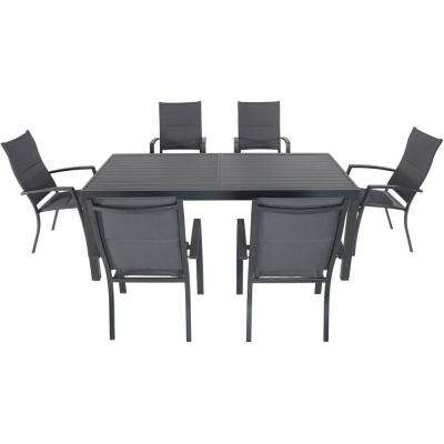 Nova 7-Piece Aluminum Outdoor Dining Set with 6-Padded Sling Chairs in Gray and 78 in. x 40 in. Dining Table