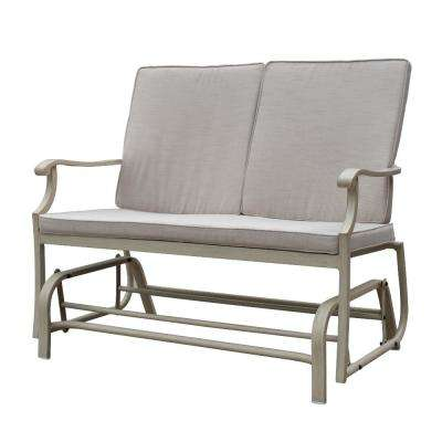 29 in. Aluminum Outdoor Double Glider with Beige Cushions