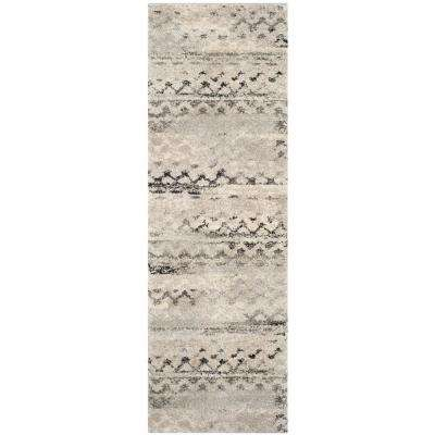 Retro Cream/Gray 2 ft. x 11 ft. Runner Rug