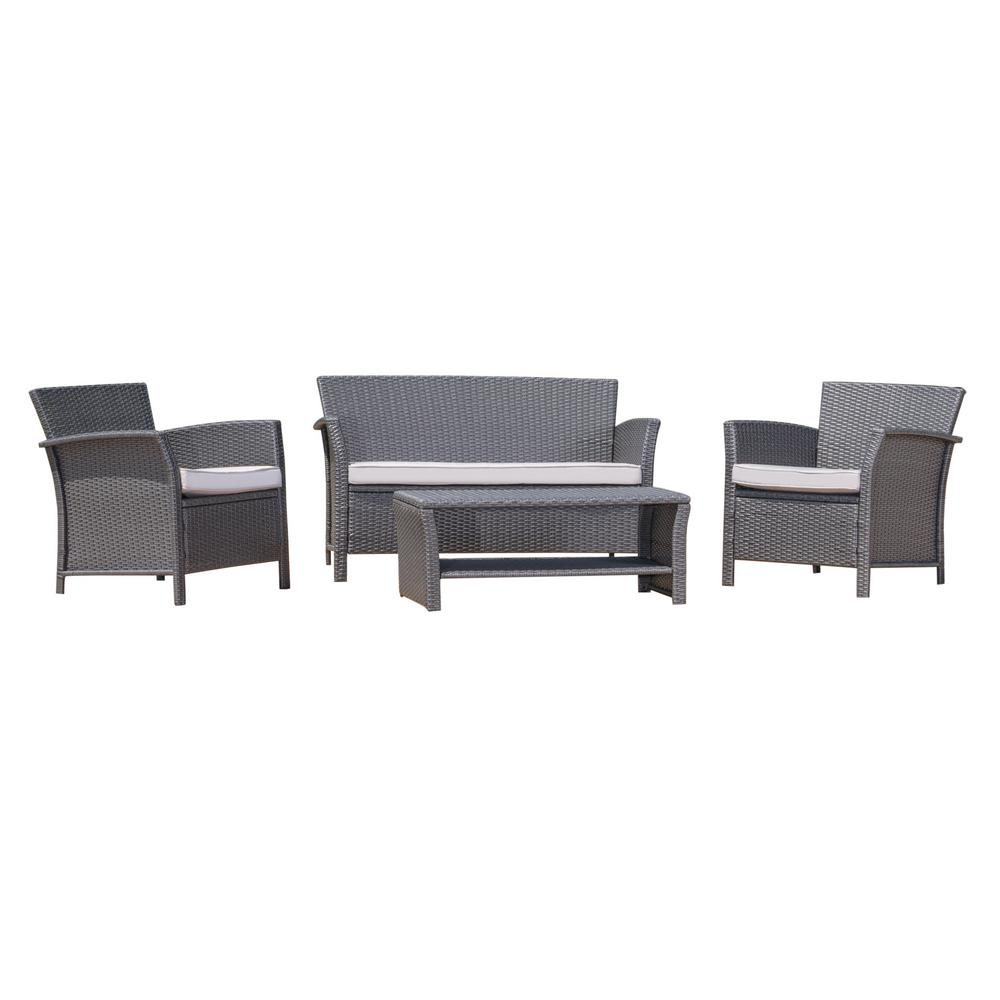 Caitlin Grey 4-Piece Wicker Deep Seating Set with Silver Cushions