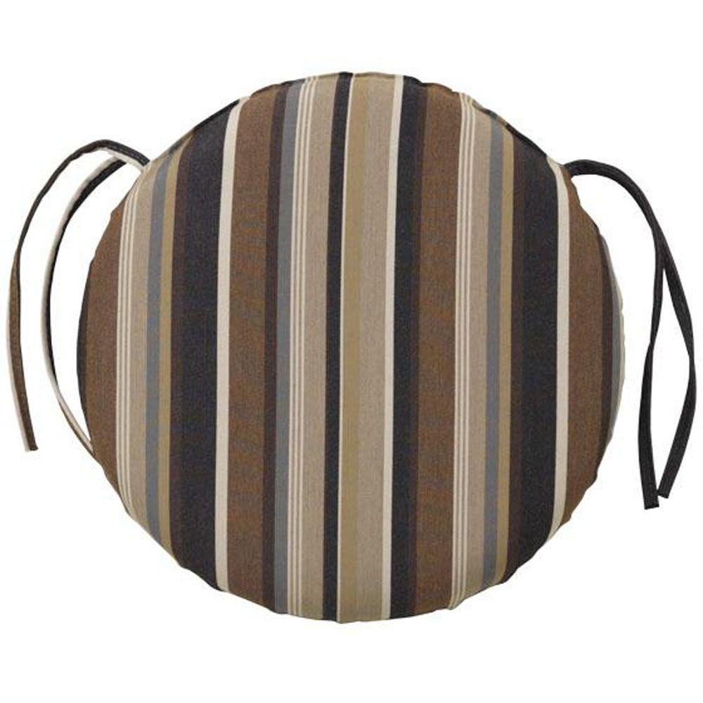 Home Decorators Collection Sunbrella Espresso Stripe Outdoor Seat Cushion
