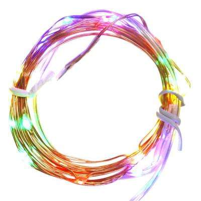 20-Light LED Battery Operated Multi-Color Christmas Fairy Lights with Copper Wire