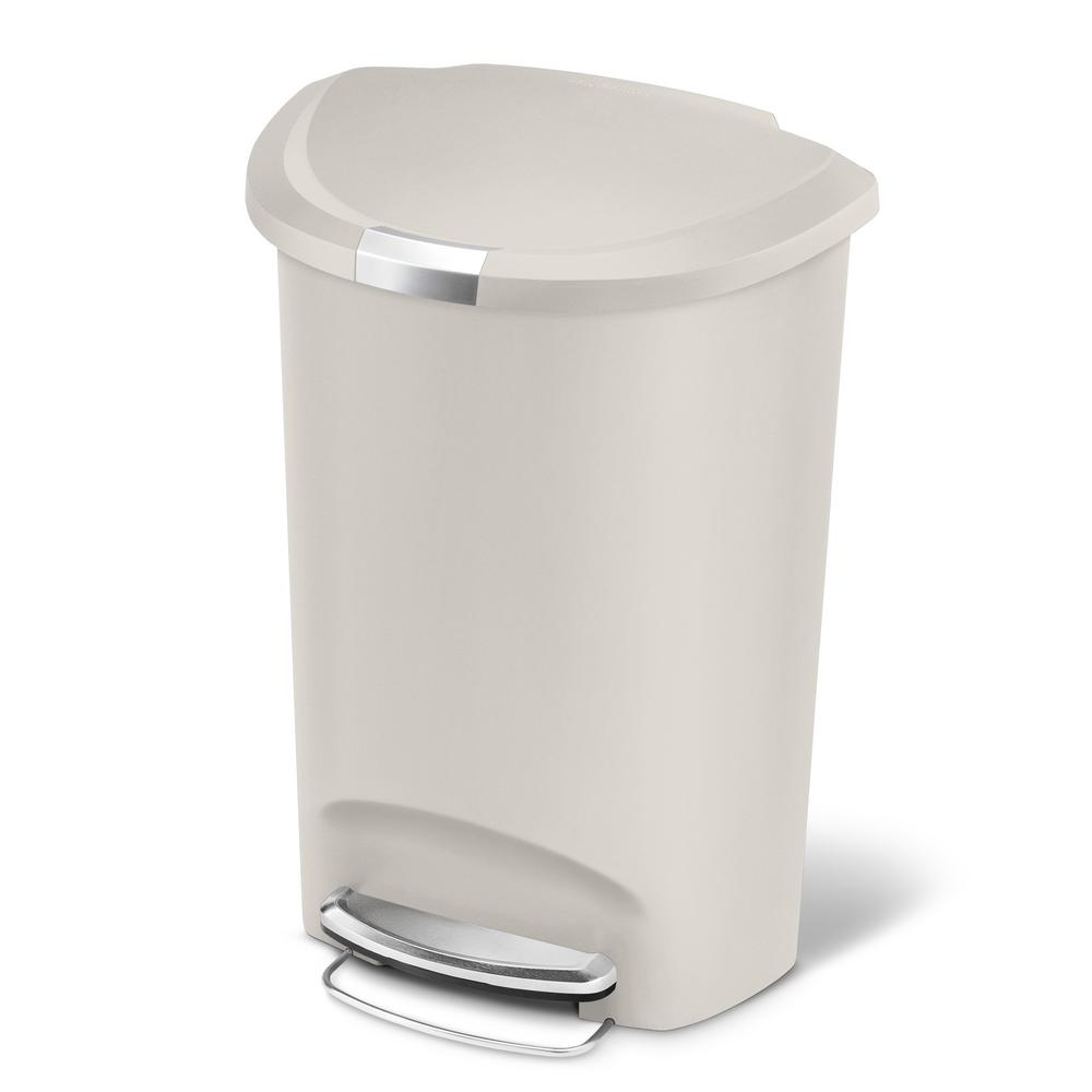 simplehuman 50 liter stone plastic semi round plastic step on trash can cw1377 the home depot. Black Bedroom Furniture Sets. Home Design Ideas