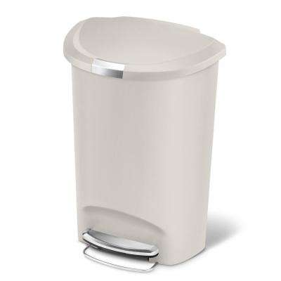 50-Liter Stone Plastic Semi-Round Plastic Step-On Trash Can
