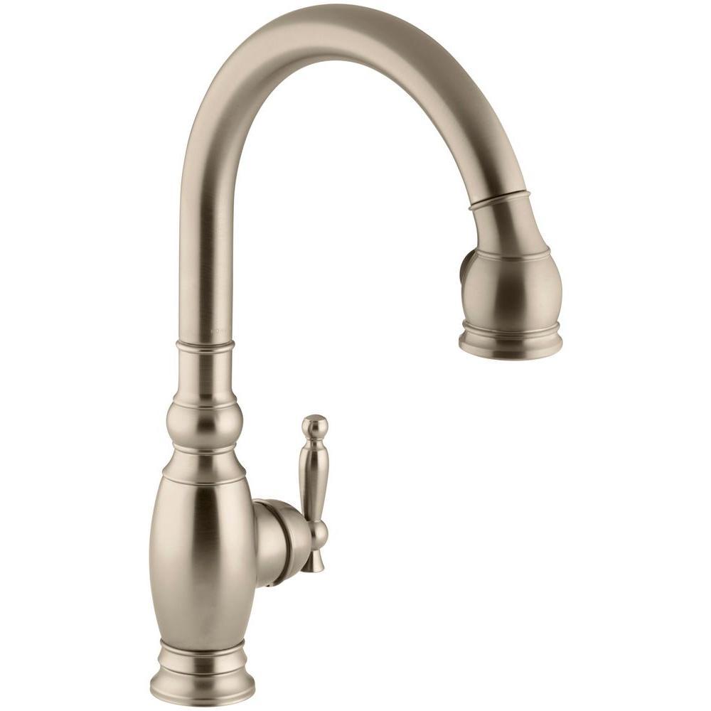 Kohler Vinnata Single Handle Pull Down Sprayer Kitchen Faucet In Vibrant Brushed Bronze K 690 Bv The Home Depot