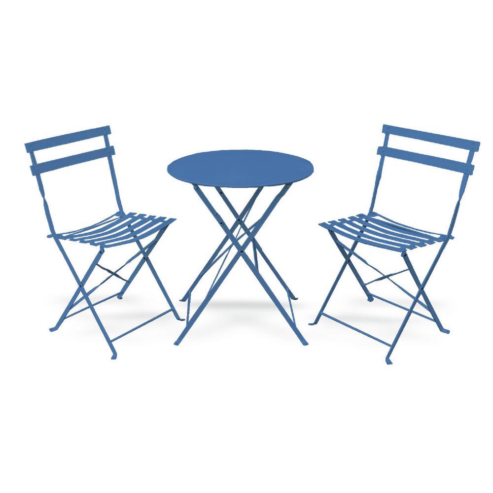 Daphne Pastel Blue 3-Piece Metal Foldable Outdoor Round Bistro Set