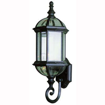 1-Light Black Coach Outdoor Wall Mount Lantern with Clear Glass