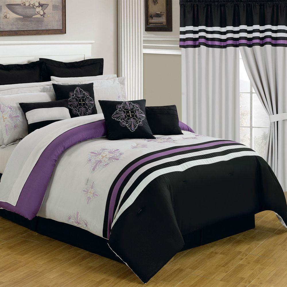 Lavish Home Rachel Black 25 Piece King Comforter Set 66 00009 24pc K