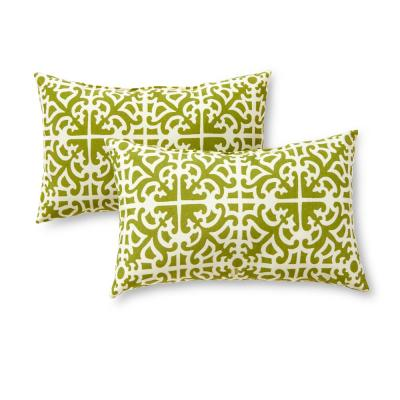 Grass Lattice Lumbar Outdoor Throw Pillow (2-Pack)