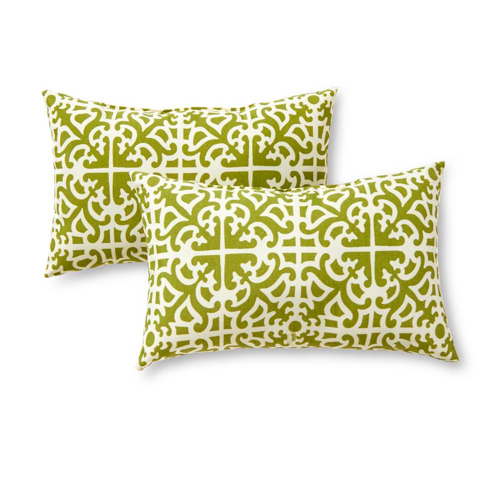 Grass Lattice Lumbar Outdoor Throw Pillow (2-Pack)