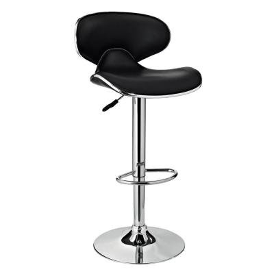 32 in. Adjustable Height Black and Chrome Bar Stool