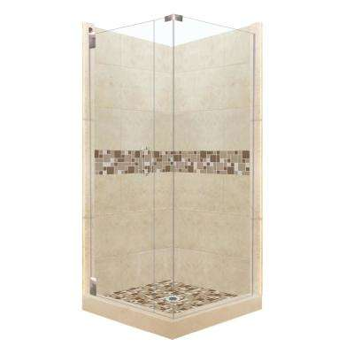 Tuscany Grand Hinged 42 in. x 42 in. x 80 in. Left-Hand Corner Shower Kit in Brown Sugar and Satin Nickel Hardware