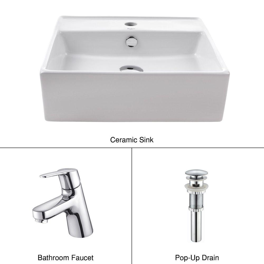KRAUS Square Ceramic Sink in White with Ferus Basin Faucet in Chrome