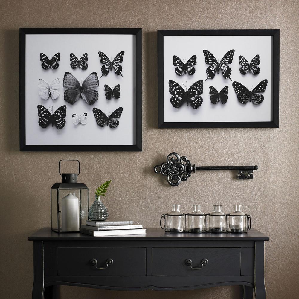 "16 in. x 20 in. ""Botanical Butterflies"" Print Framed Wall Art"