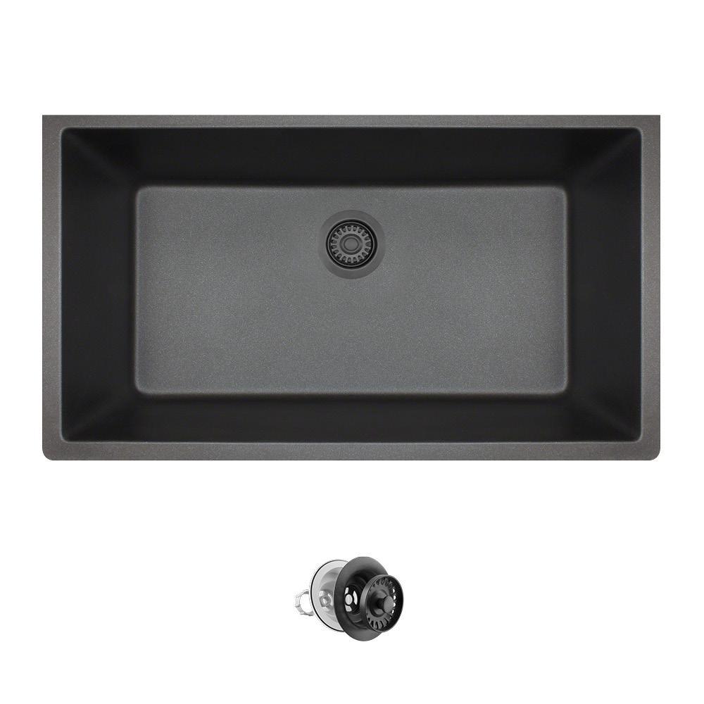 Granitequartz composite black kitchen sinks kitchen the all in one undermount quartz 32625 in 0 hole single bowl kitchen workwithnaturefo