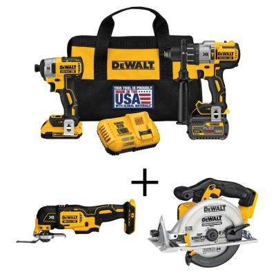 FLEXVOLT 60-Volt and 20-Volt MAX Lithium-Ion Cordless Brushless Combo Kit (2-Tool) Bonus Multi-Tool and Circular Saw