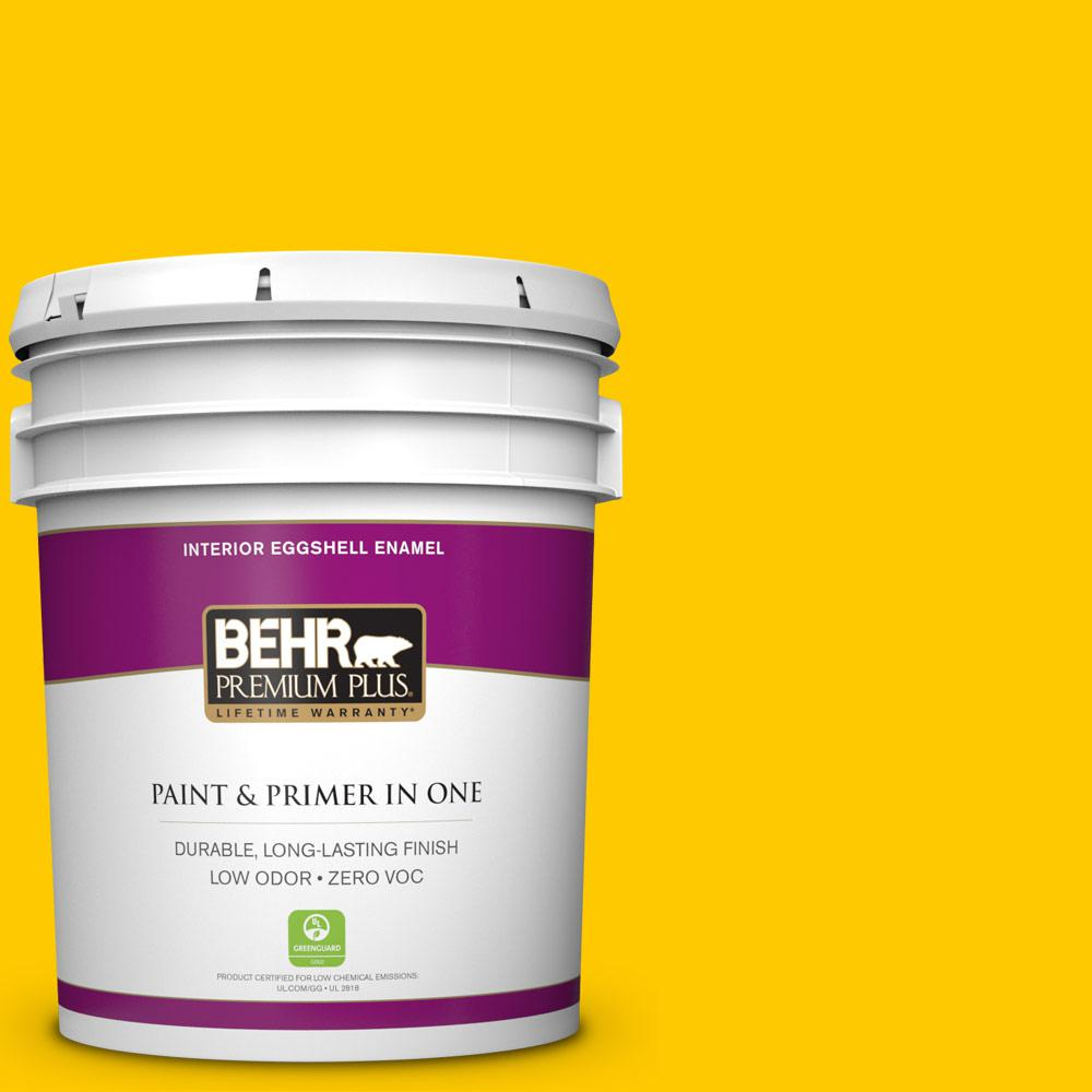 5 gal. #370B-7 Yellow Flash Zero VOC Eggshell Enamel Interior Paint