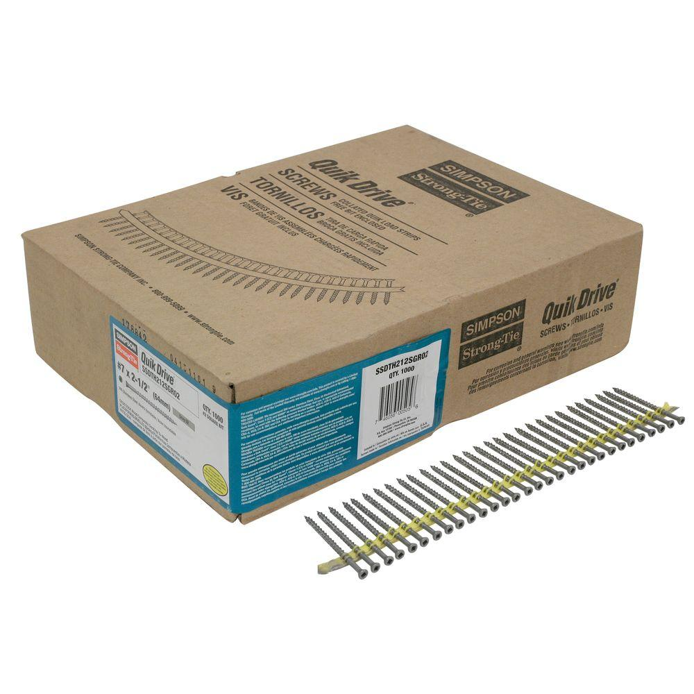 Simpson Strong-Tie Quik Drive #7 2-1/2 in. Gray 305 Stainless Steel Trim-Head Collated Decking Screw (1,000 per Box)
