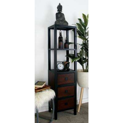 Dark Brown 2-Tier Shelving Unit with 3 Drawers and a Matte Black Iron Frame