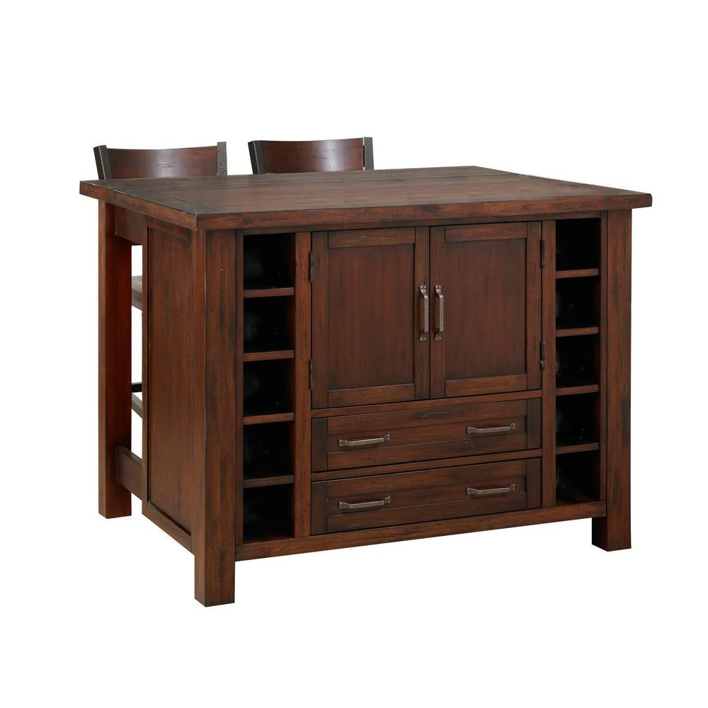 Cabin Creek Wood Drop Leaf Breakfast Bar Kitchen Island with 2 Stools
