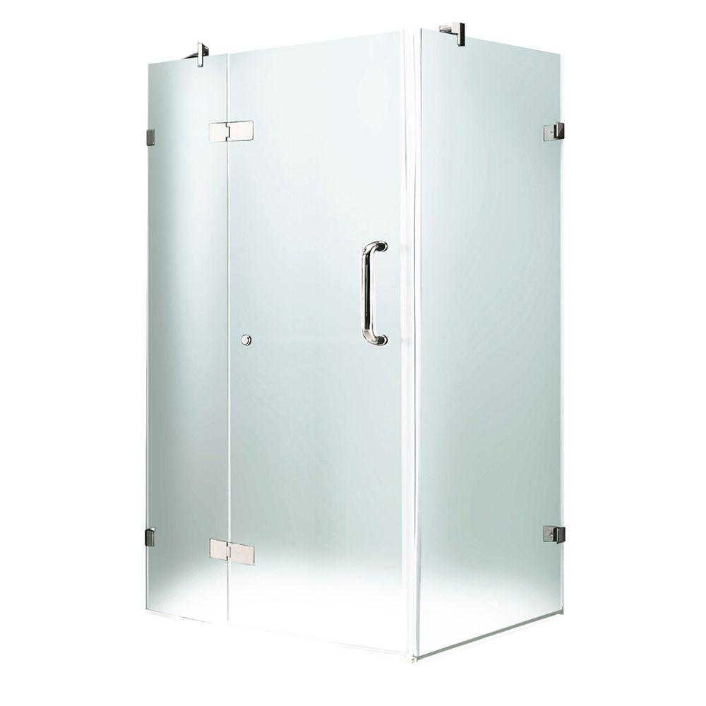 Vigo 34-1/8 in. x 34-1/8 in. x 73-3/8 in. Frameless Pivot Shower Enclosure in Chrome and Frosted Glass and Left Door