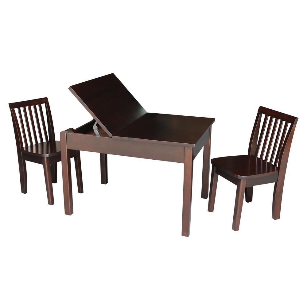 3-Piece Mocha Child's Lift-Top Storage Table Set