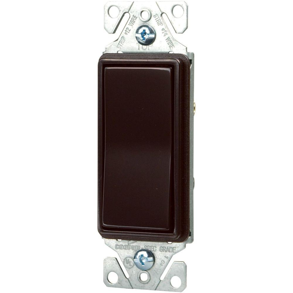 Eaton Standard Grade 15 Amp Single Pole Decorator Switch with Back Push and Side Wiring - Brown