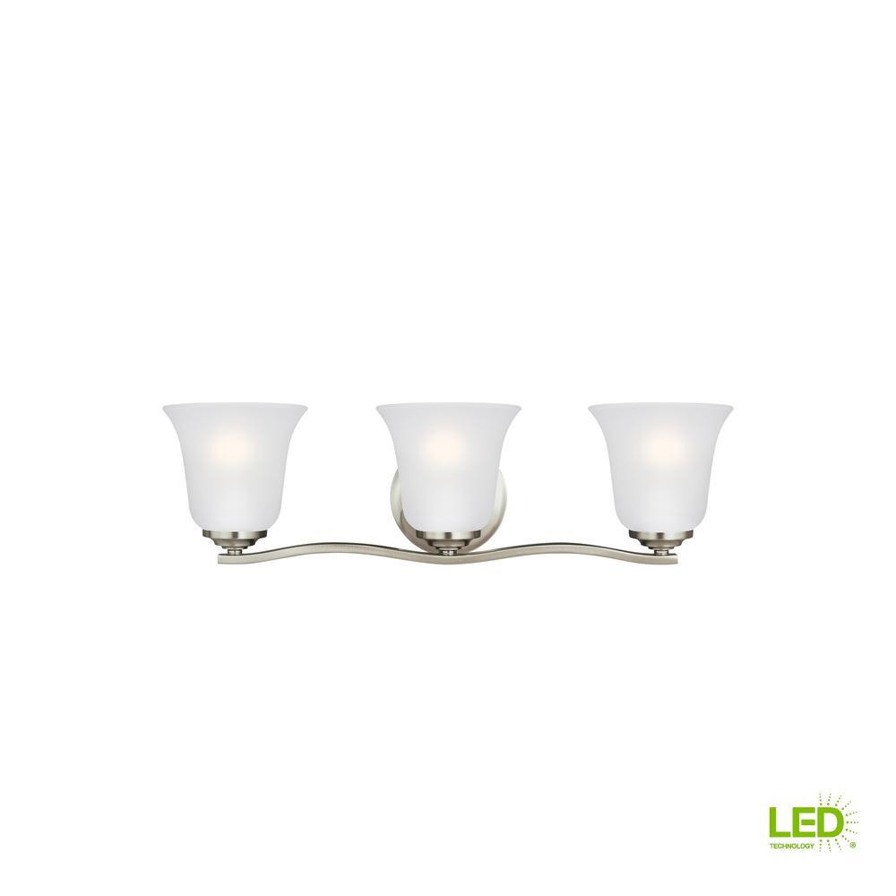 Emmons 3-Light Brushed Nickel Bath Light with LED Bulbs