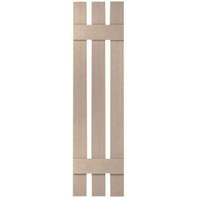 12 in. x 43 in. Lifetime Vinyl Standard Three Board Spaced Board and Batten Shutters Pair Wicker