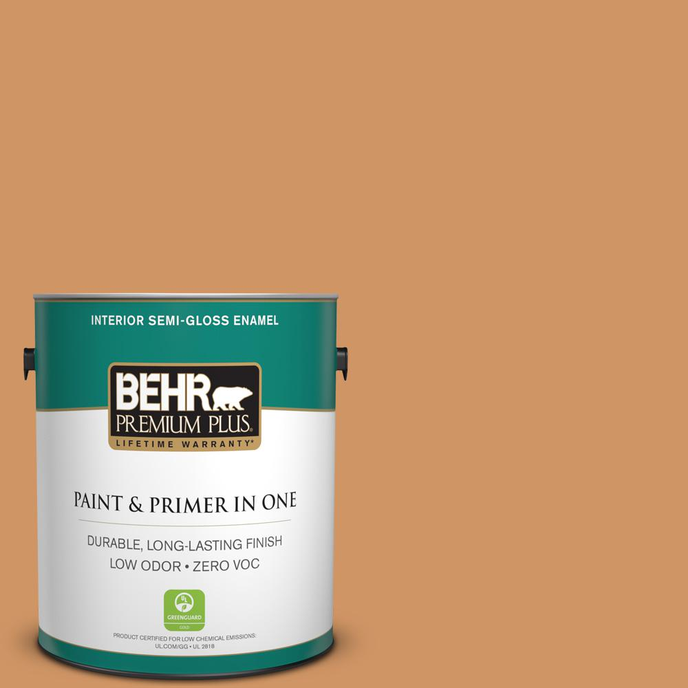 1-gal. #280D-5 Glazed Pecan Zero VOC Semi-Gloss Enamel Interior Paint