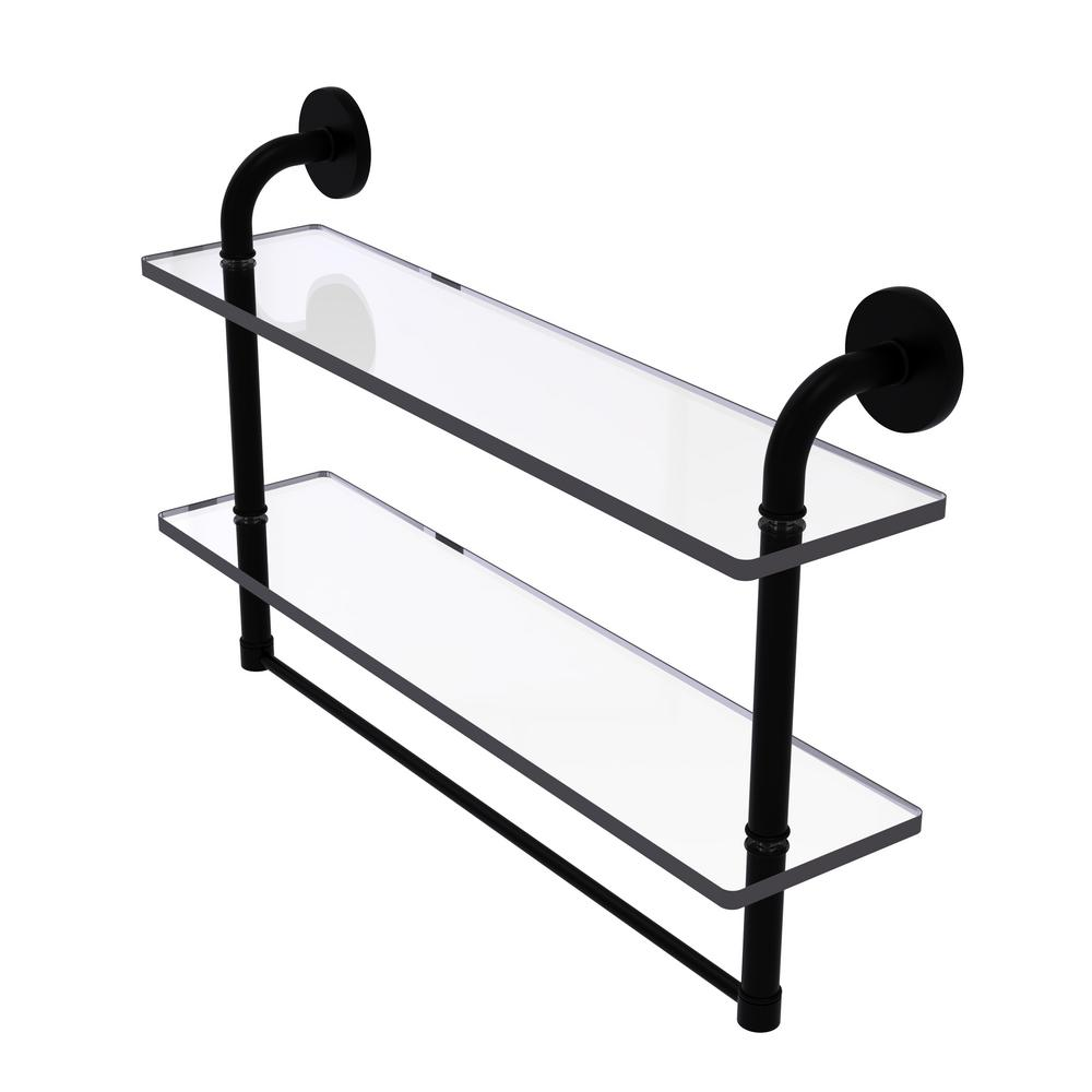 Remi Collection 22 in. 2-Tiered Glass Shelf with Integrated Towel Bar