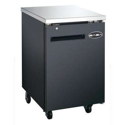 23.5 in. W 6.5 cu. ft. Commercial Solid Door Back Bar Refrigerator in Stainless Steel with Black