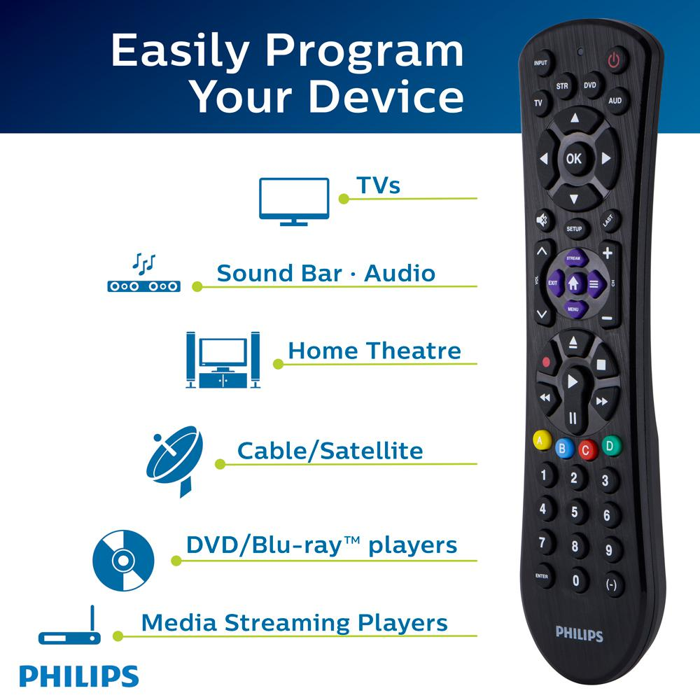 Philips 4-Device Streaming Compatible Universal Remote Control in Brushed  Black