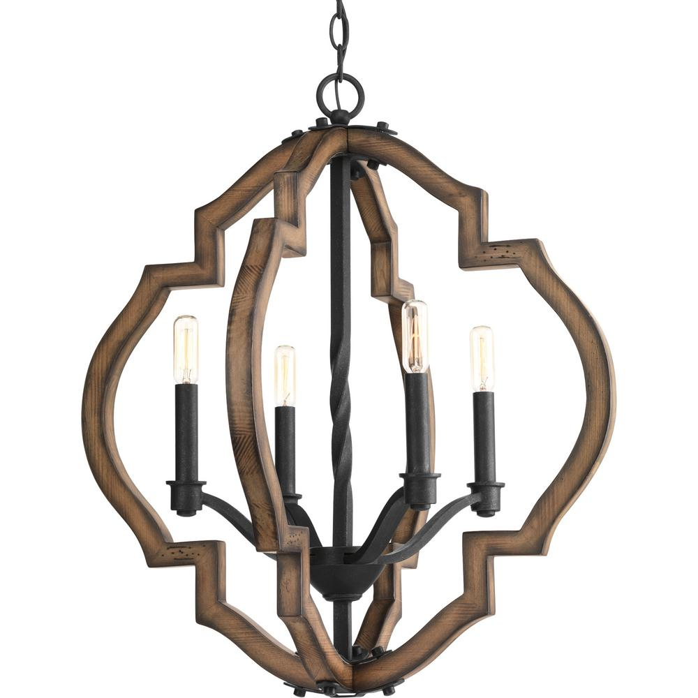 Progress Lighting Ewood Collection 4 Light Black Gilded Iron Chandelier