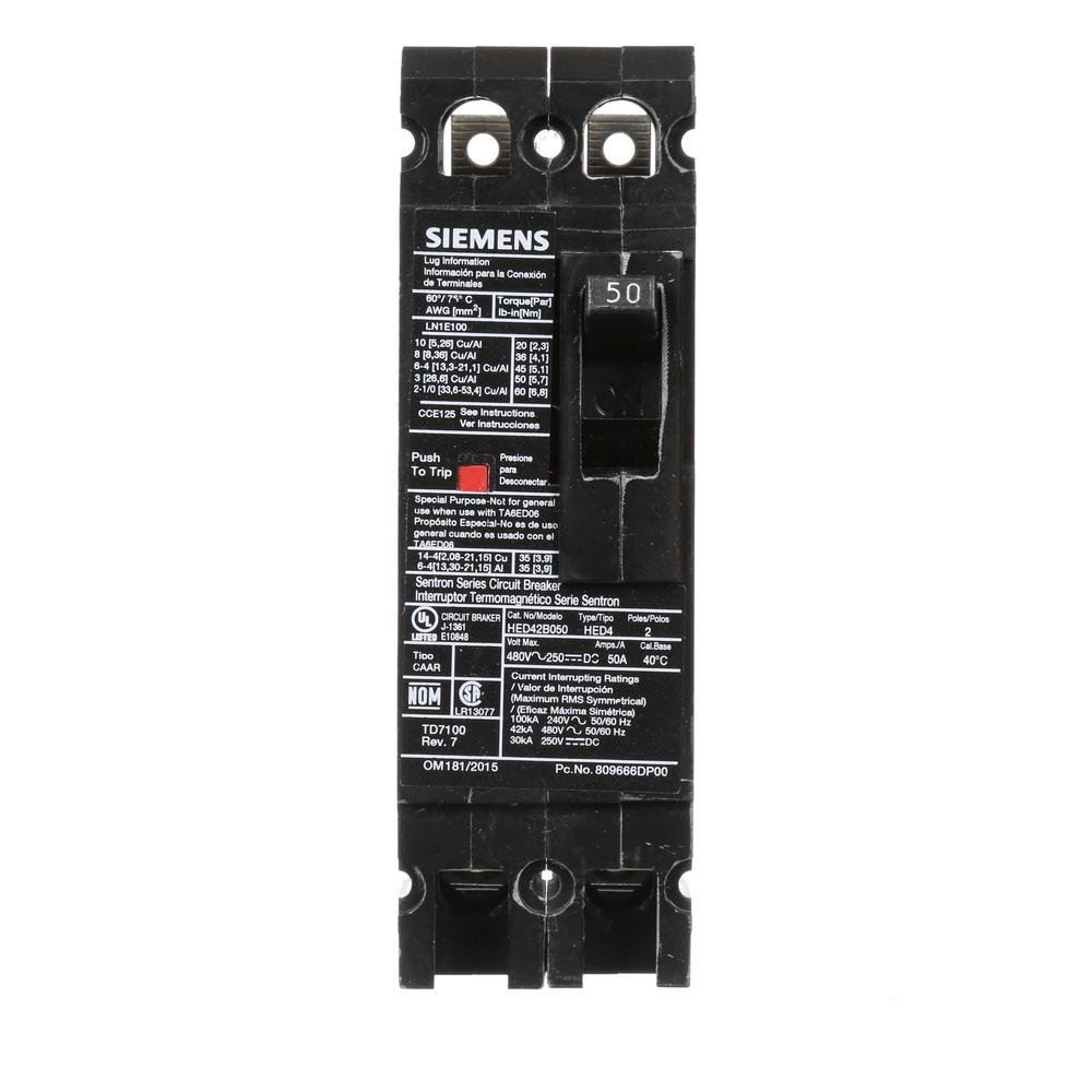 siemens 50 amp 2 pole type ed 42 ka circuit breaker hed42b050 the home depot. Black Bedroom Furniture Sets. Home Design Ideas