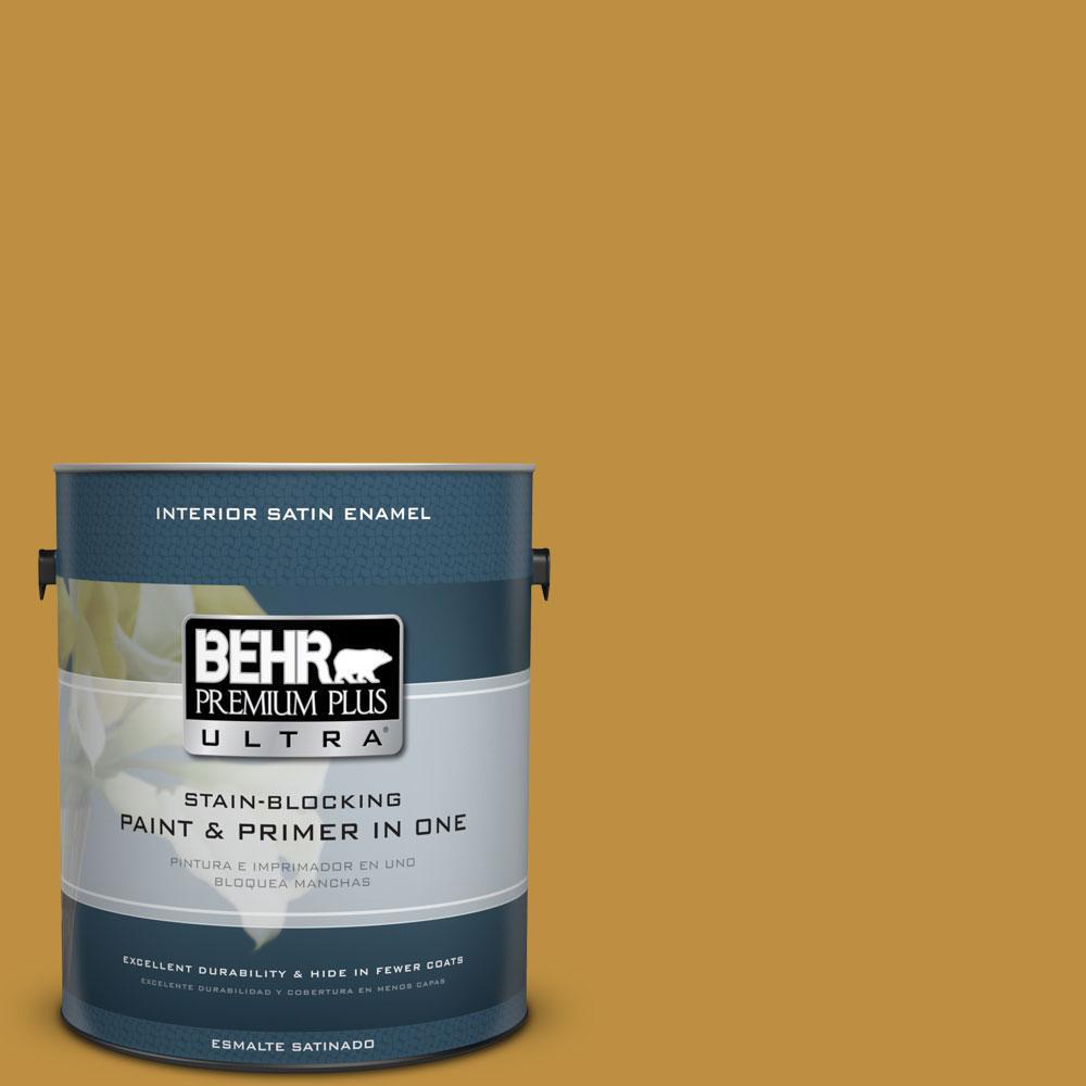 1 gal. #340D-6 Fervent Brass Satin Enamel Interior Paint and Primer