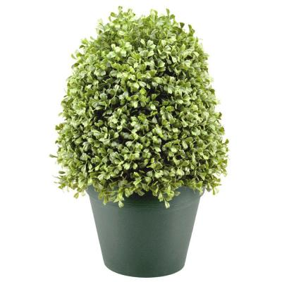 15 in. Boxwood Artificial Tree in Dark Green Round Plastic Urn