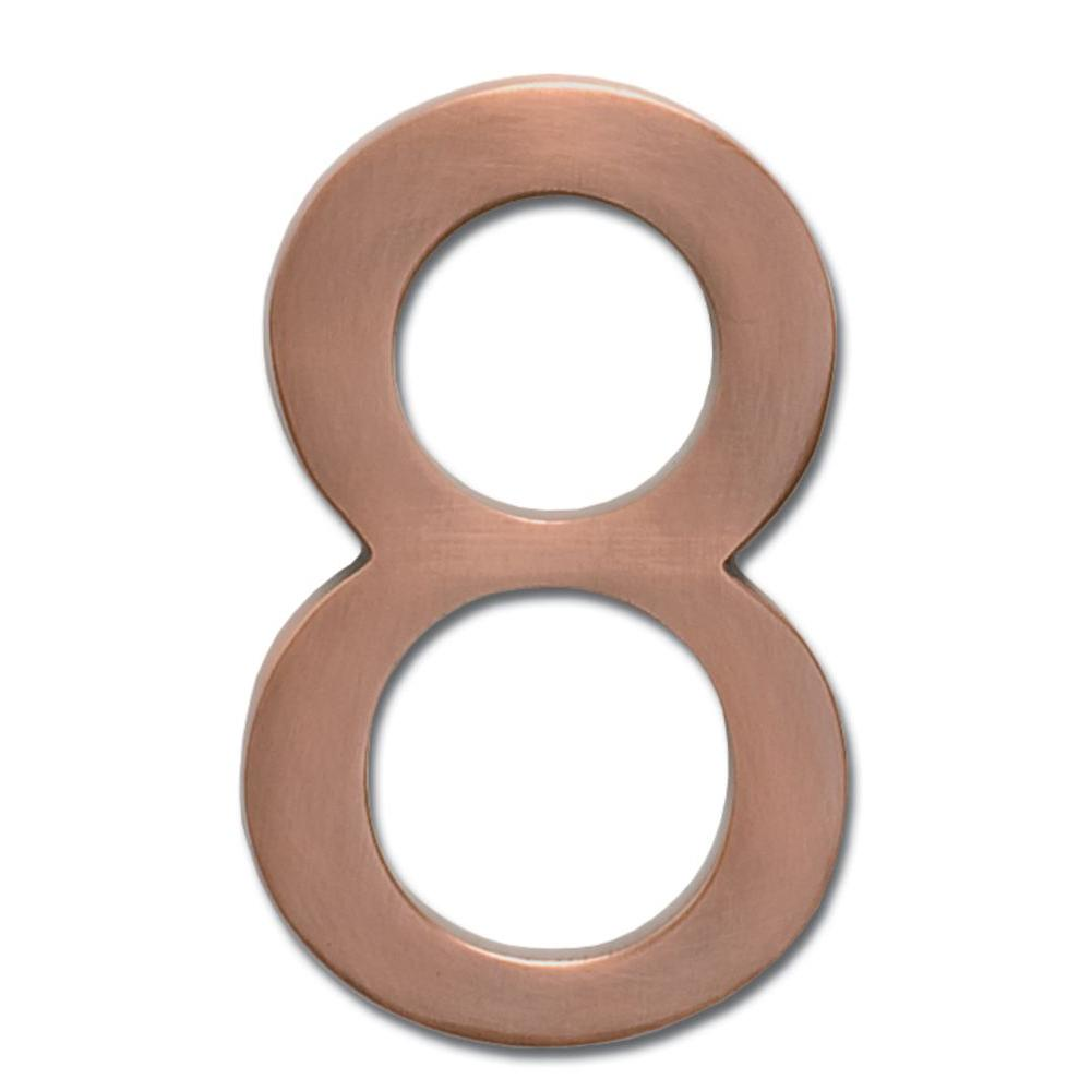 4 in. Antique Copper Floating House Number 8