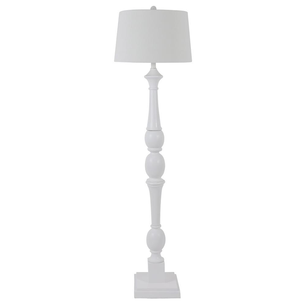 Crossmill 61.25 in. White Baluster Floor Lamp with White Linen Drum Shade