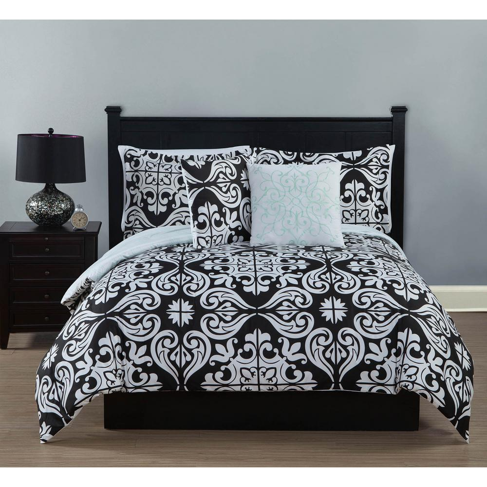 Studio 17 Helena Black White 5 Piece Full Queen Comforter Set