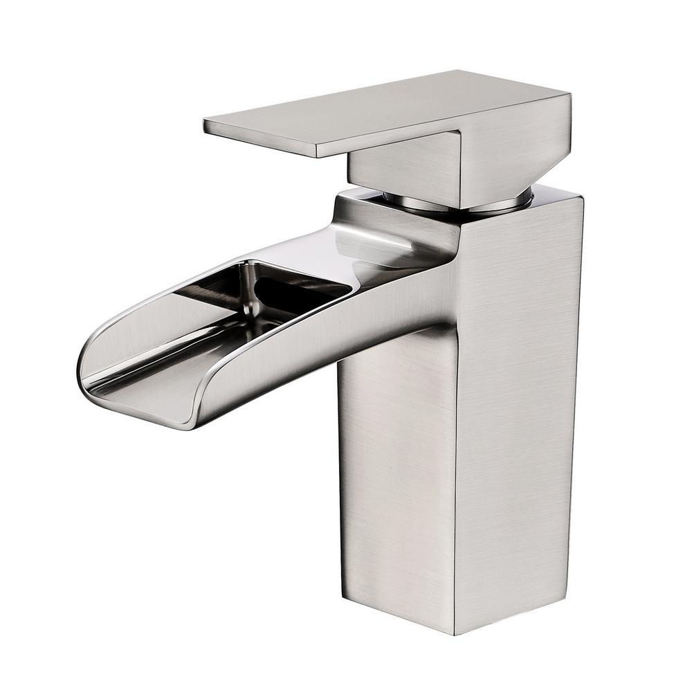 Vanity Art 6.8 in. Single Hole Single-Handle Lever Vessel Bathroom Faucet in Brushed Nickel was $118.0 now $82.6 (30.0% off)