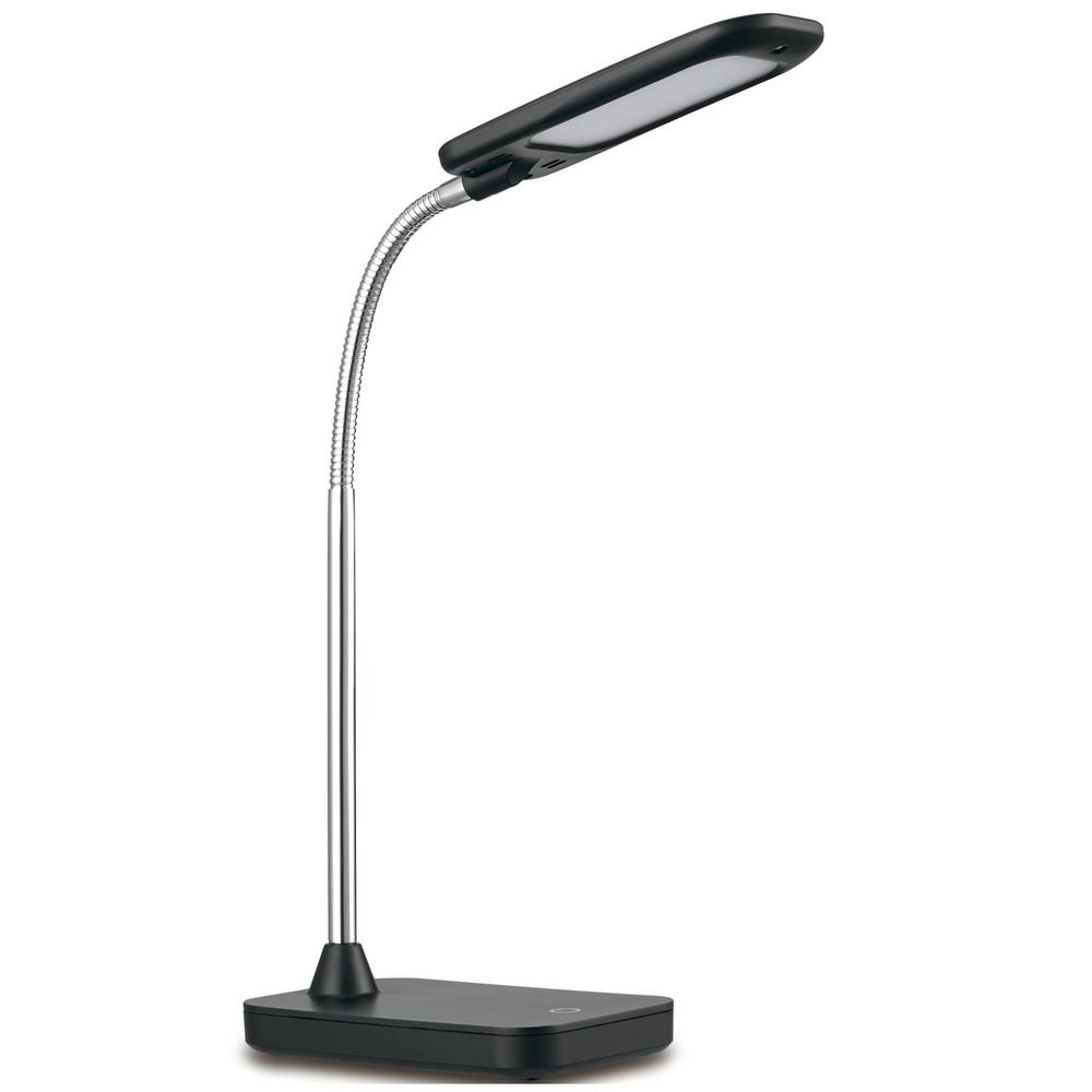 14 in. Black and Chrome Integrated LED Desk Lamp